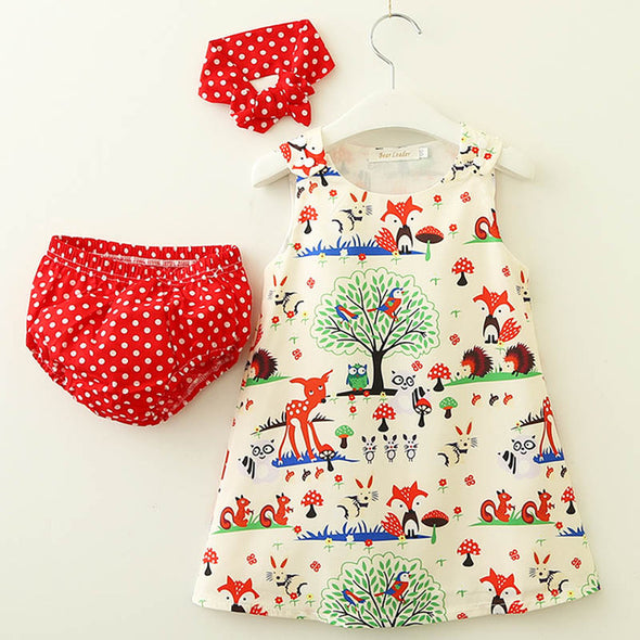 Baby Girl Cartoon Pattern 3-Piece Dress and Headband
