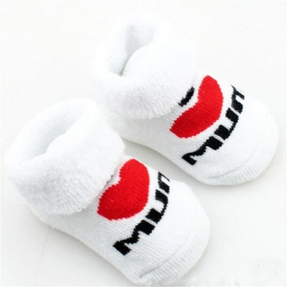 I Heart Mum and Dad Slippy Baby Socks