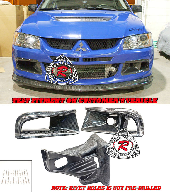JDM Style Carbon Fiber Front Bumper Air Duct Vent for 2003-2005 Mitsubishi Evolution 8 - Bayson R Motorsports
