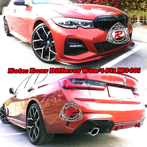 MP Style Lip Kit (Gloss Black) For 2019-2021 BMW 3-Series G20 / G21 - Bayson R Motorsports