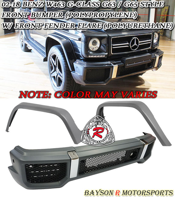 G63 / G65-Style Front Bumper + Fender Flare For 2002-2018 Mercedes-Benz G Class W463 - Bayson R Motorsports