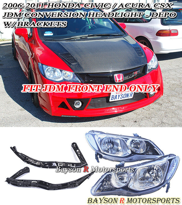 Depo Head Lights w/ Brackets For 2006-2011 Honda Civic 4Dr (JDM Spec) - Bayson R Motorsports