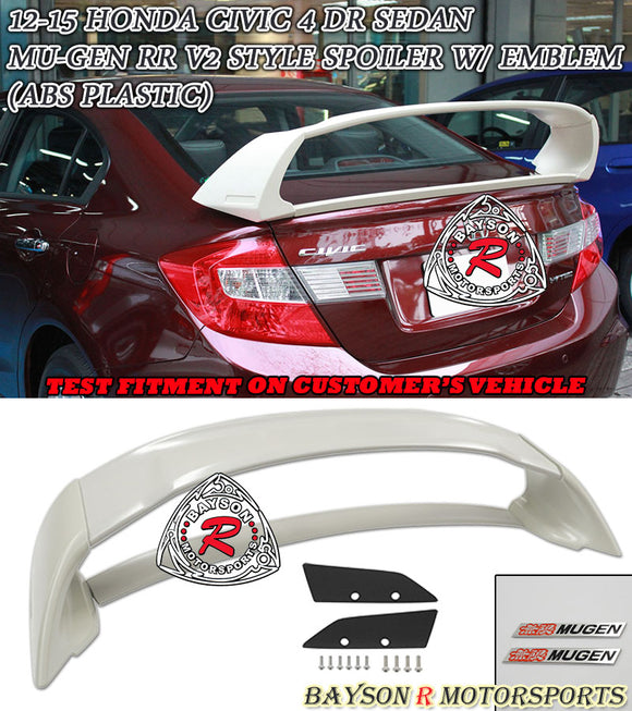 MU RR V2 Style Trunk Spoiler w/ Emblems For 2012-2015 Honda Civic 4 Dr - Bayson R Motorsports