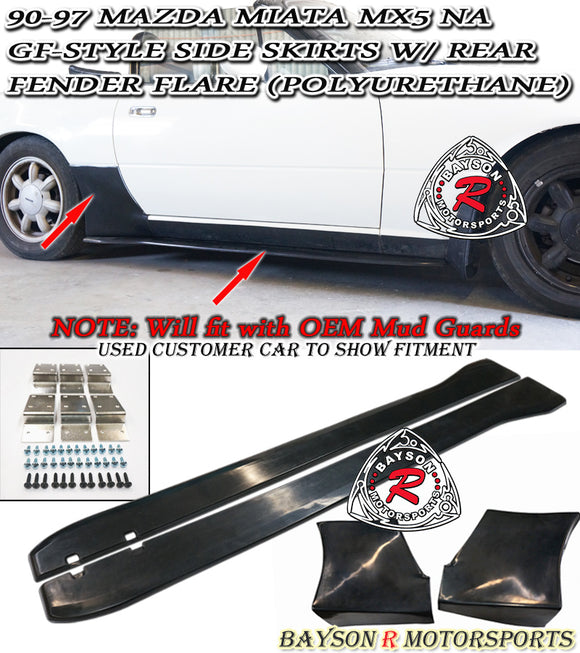 GF Style Side Skirts w/ Rear Fender Flare For 1990-1997 Mazda Miata MX5 NA - Bayson R Motorsports