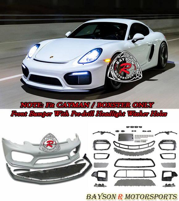 GT4 Style Front Bumper w/DRL (with Headlight Washer Holes) For 2013-2016 Porsche 981 Cayman Boxster - Bayson R Motorsports