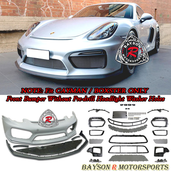 GT4 Style Front Bumper w/DRL (without Headlight Washer Holes) For 2013-2016 Porsche 981 Cayman Boxster - Bayson R Motorsports