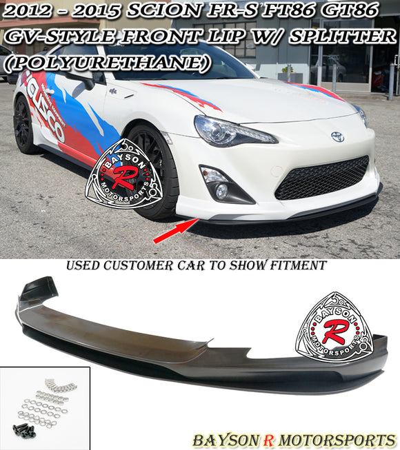 GV Style Front Lip w/ Splitter For 2012-2016 Scion FR-S - Bayson R Motorsports