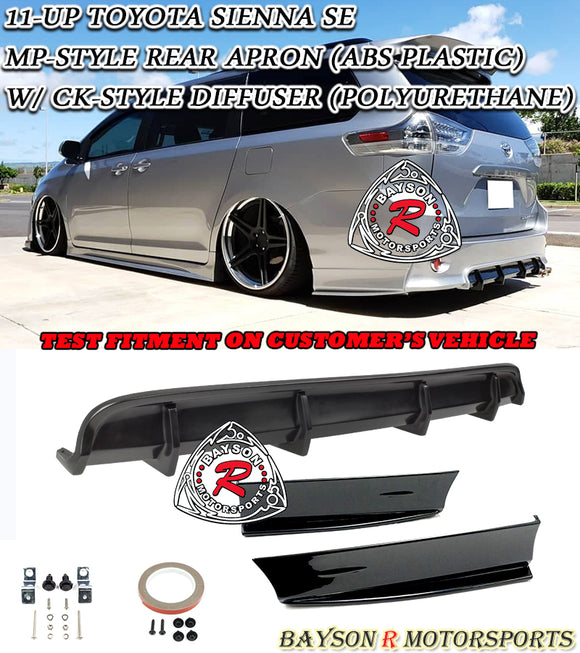 11-20 Toyota Sienna SE MP-Style Rear Aprons (ABS Plastic) w/ CK-Style diffuser (Polyurethane) - Bayson R Motorsports