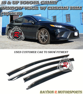 18-Up Toyota Camry Side Window Rain Guard Visors (Tinted) + Chrome Trim