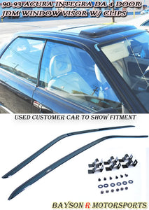 90-93 Acura Integra 4Dr JDM Side Window Rain Guard Visors with Clips (Tinted)