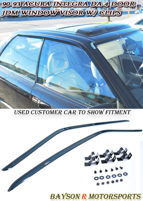 90-93 Acura Integra 4Dr JDM Side Window Rain Guard Visors with Clips (Tinted) - Bayson R Motorsports
