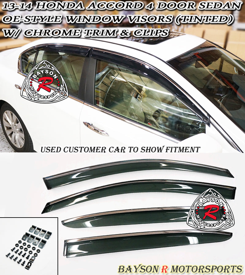 13-17 Honda Accord 4dr JDM Side Window Rain Guard Visors with Clips (Tinted)
