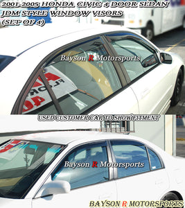 JDM Style Window Visors For 2001-2005 Honda Civic 4 Dr - Bayson R Motorsports