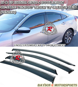 OE Style Window Visors w/ Chrome Trim For 2016-2020 Honda Civic 4Dr - Bayson R Motorsports