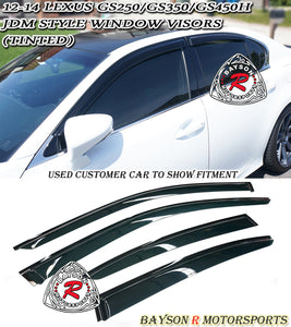 12-15 Lexus GS350 GS450h JDM Side Window Rain Guard Visors (Tinted) - Bayson R Motorsports
