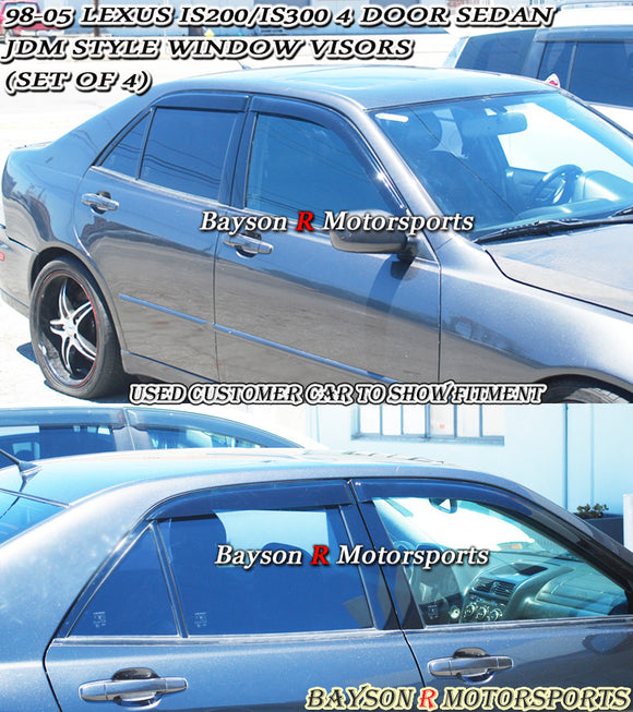 98-05 Lexus IS200 IS300 4dr JDM Side Window Rain Guard Visors (Tinted) - Bayson R Motorsports