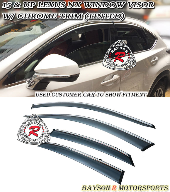 JDM Style Window Visors w/ Chrome Trim For 2015-2016 Lexus NX - Bayson R Motorsports