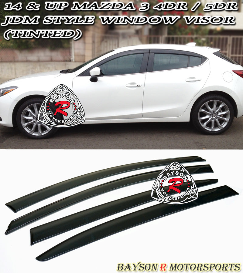 14-18 Mazda 3 4dr Sedan 5dr Hatch JDM Side Window Rain Guard Visors (Tinted)