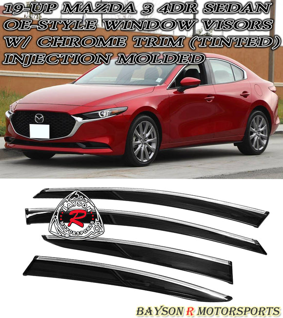 OE Style Window Visors w/ Chrome Trims For 2019-2020 Mazda 3 4Dr - Bayson R Motorsports