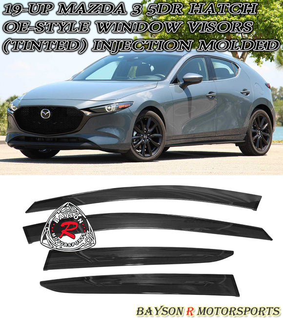 OE Style Window Visors For 2019-2021 Mazda 3 5Dr - Bayson R Motorsports
