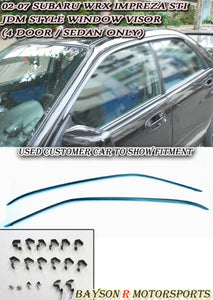 02-07 Subaru Impreza WRX STI JDM Side Window Rain Guard Visors with Clips (Tinted)