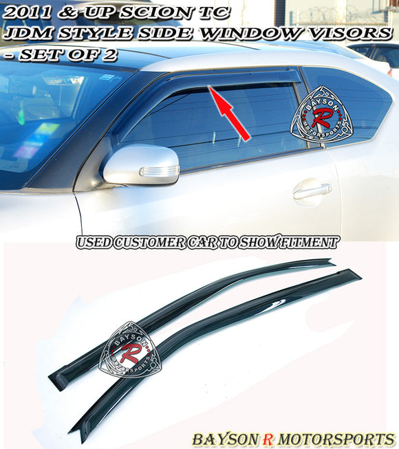 11-16 Scion tC JDM Side Window Rain Guard Visors (Tinted)