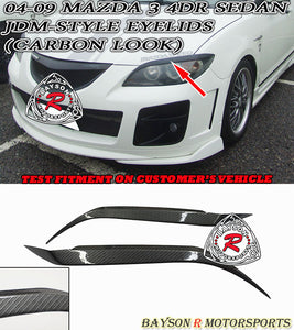 JDM Style Eyelids For 2004-2009 Mazda 3 4Dr (Carbon Look) - Bayson R Motorsports