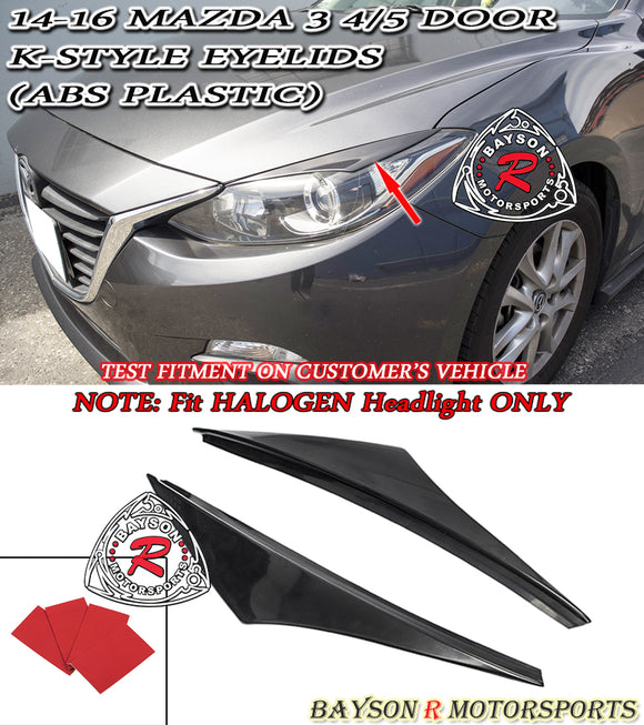 K Style Headlight Eyelids For 2014-2016 Mazda 3 [Halogen Headlights] - Bayson R Motorsports
