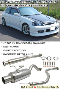96-00 Honda Civic 3Dr HatchBack N1 Style CatBack Exhaust + Silencer