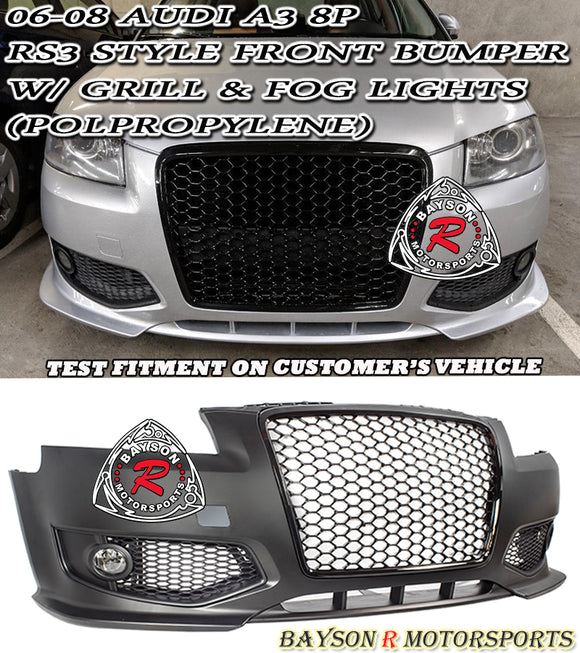 06-08 Audi A3 8P RS3 Style Front Bumper w/ Grill & Fog Lights (Polypropylene) - Bayson R Motorsports