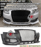 06-08 Audi A3 S3 (8P) RS3-Style Front Bumper w/ Grille & Fog Lights (Polypropylene) - Bayson R Motorsports