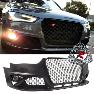 RS4 Style Front Bumper w/ Gloss Black Grille & Glass Fog Lights For 2013-2016 Audi A4 S4 (B8.5) - Bayson R Motorsports