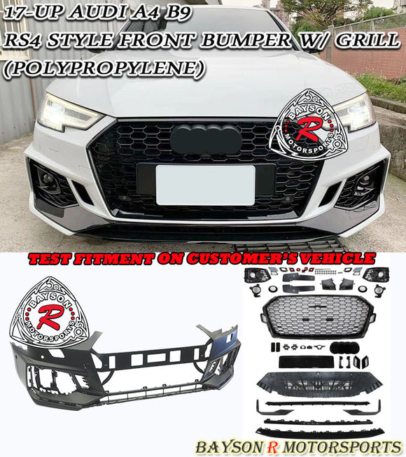 17- 20 Audi A4 B9 RS4-Style Front Bumper w/Grill - Bayson R Motorsports