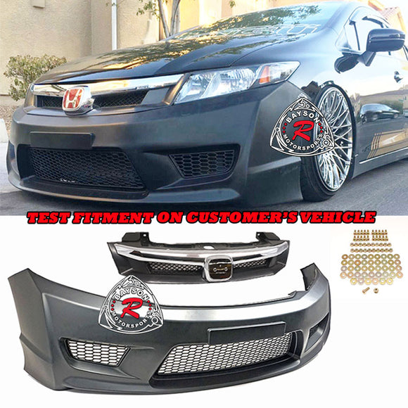 TR Style Front Bumper For 2012-2015 Honda Civic 4 Dr - Bayson R Motorsports