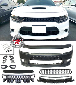 SRT8 Hellcat Style Front Bumper w/ Air Duct Grill For 2015-2021 Dodge Charger - Bayson R Motorsports