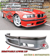Load image into Gallery viewer, 92-98 BMW E36 2/4Dr M3 Style Front Bumper Cover w/ Removable Lower Lip (Polypropylene)
