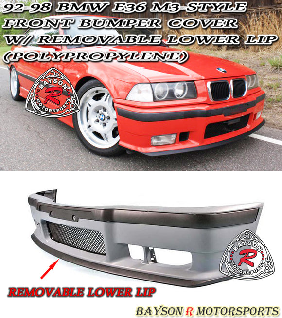 92-98 BMW E36 2/4Dr M3 Style Front Bumper Cover w/ Removable Lower Lip (Polypropylene)