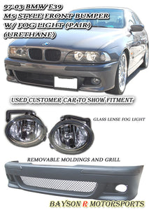 M5 Style Front Bumper w/ Fog Lights For 1997-2003 BMW 5 Series E39 4 Dr - Bayson R Motorsports