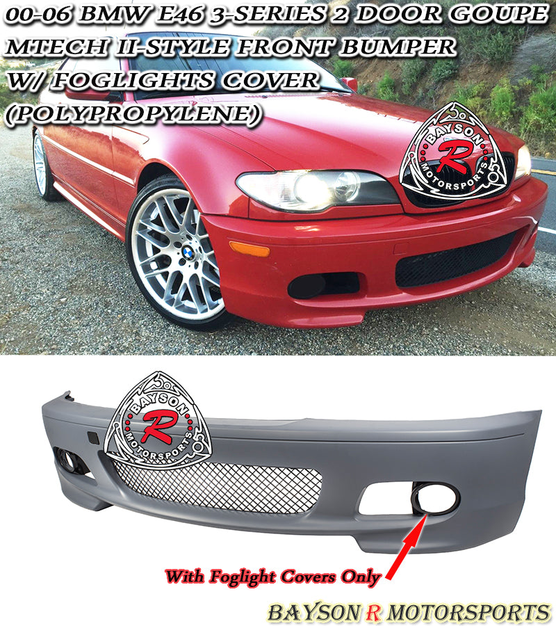 00-06 BMW E46 2Dr Coupe M-Tech II Style Front Bumper (Polypropylene)