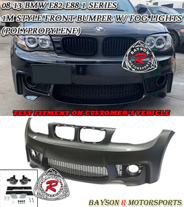 1M Style Front Bumper w/ Fog Lights For 2008-2013 BMW 1 Series E82 / E88 - Bayson R Motorsports