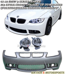 M3 Style Front Bumper w/ Fog Lights For 2007-2010 BMW 3 Series E92 E93 - Bayson R Motorsports