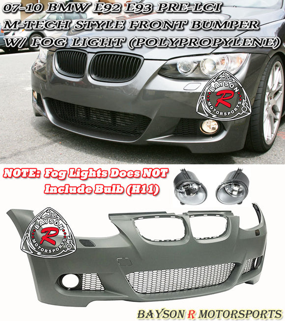 M-Tech Style Front Bumper w/ Fog Lights For 2007-2010 BMW 3-Series E92/E93 - Bayson R Motorsports
