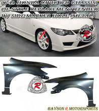 Load image into Gallery viewer, 06-11 Honda Civic 4dr Sedan FD Conversion Fenders w/ Side Marker Cut out (Metal)