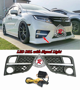Fog Light Covers w/ LED DRL and Signal Light For 2018-2020 Honda Odyssey - Bayson R Motorsports