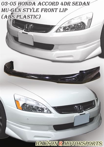 03-05 Honda Accord 4Dr Sedan Mu-gen Style Front Lip (ABS Plastic)
