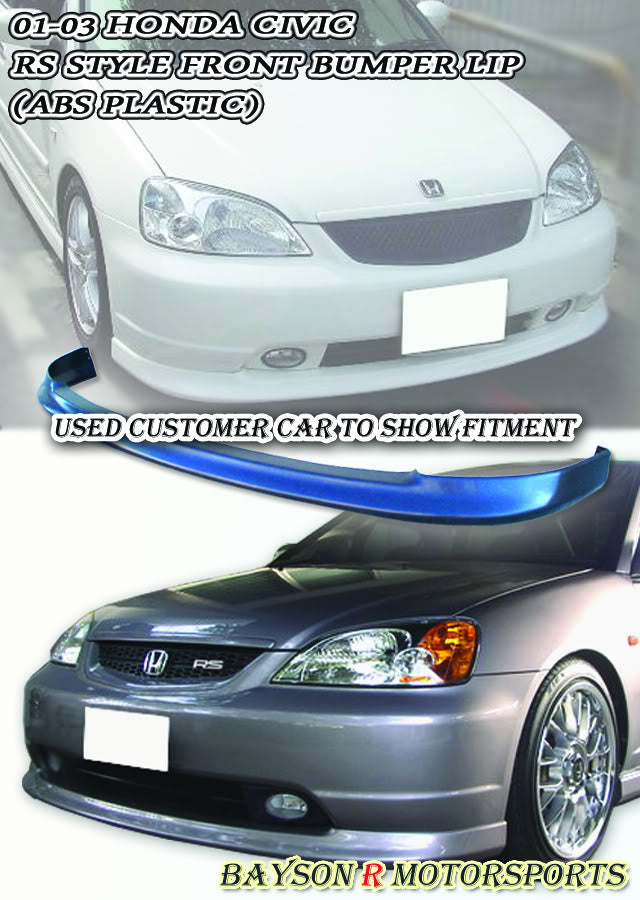 01-03 Honda Civic 2/4dr RS Style Front Lip (Polypropylene)