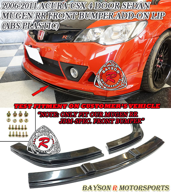 MURR Style Add-On Front Lip For 2006-2011 Honda Civic 4Dr (JDM) - Bayson R Motorsports