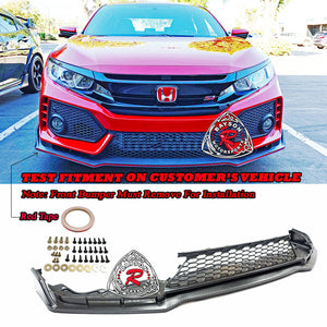 TR Style Front Lip (Carbon Look) w/ Lower Grille For 2017-2020 Honda Civic Si - Bayson R Motorsports
