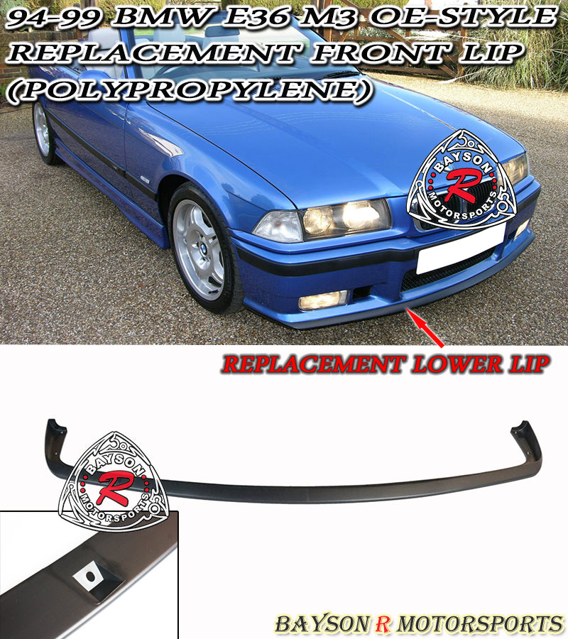94-99 BMW E36 M3 OE-Style Replacement Front Lip (Polypropylene)