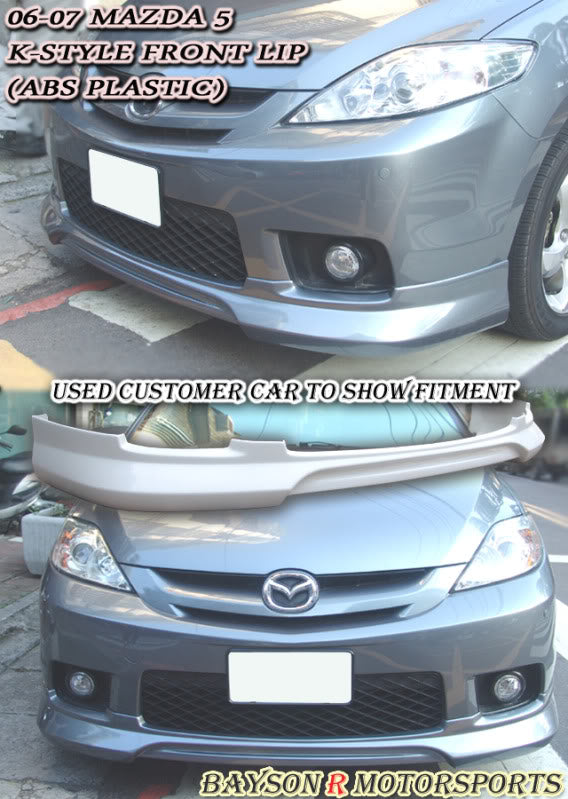K Style Front Lip For 2006-2007 Mazda 5 - Bayson R Motorsports